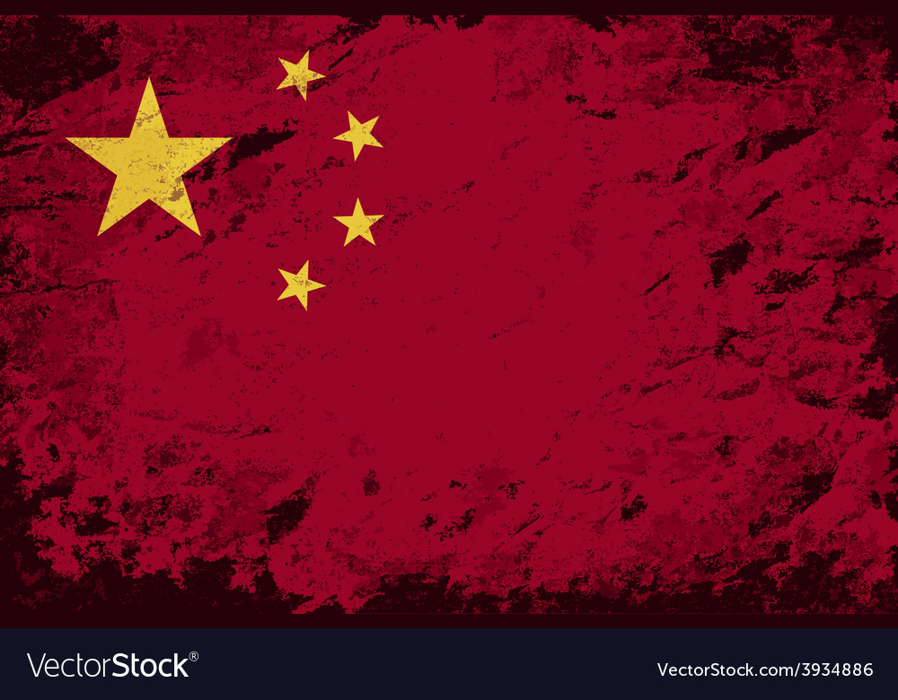 Chinese flag grunge background vector | Price: 1 Credit (USD $1)