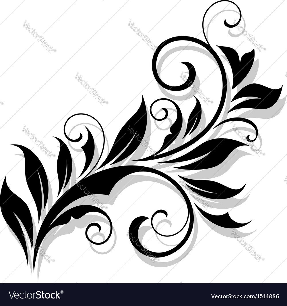 Floral design element in a refined style vector | Price: 1 Credit (USD $1)