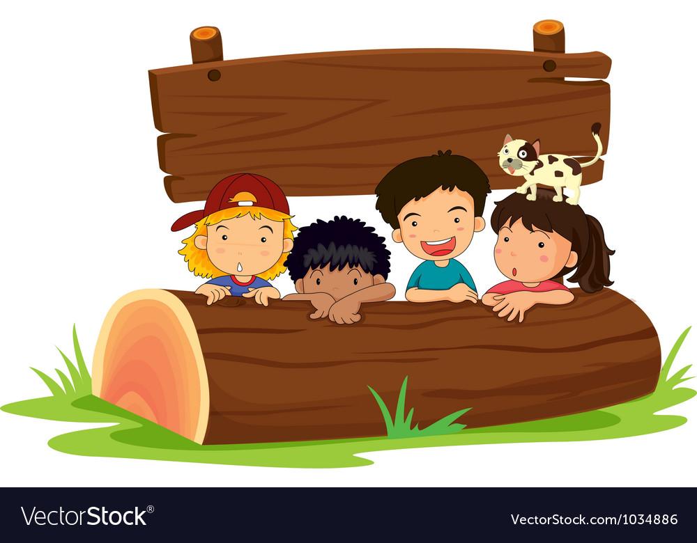 Kids on log vector | Price: 1 Credit (USD $1)