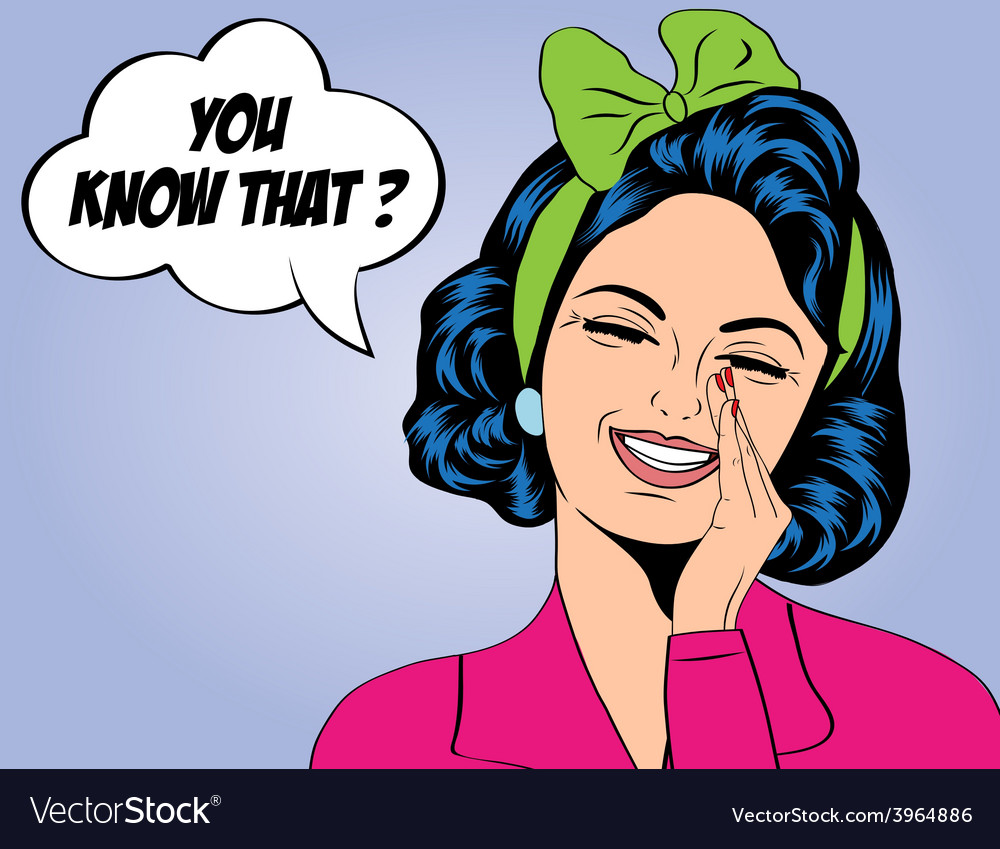 Pop art cute retro woman in comics style laughing vector   Price: 1 Credit (USD $1)