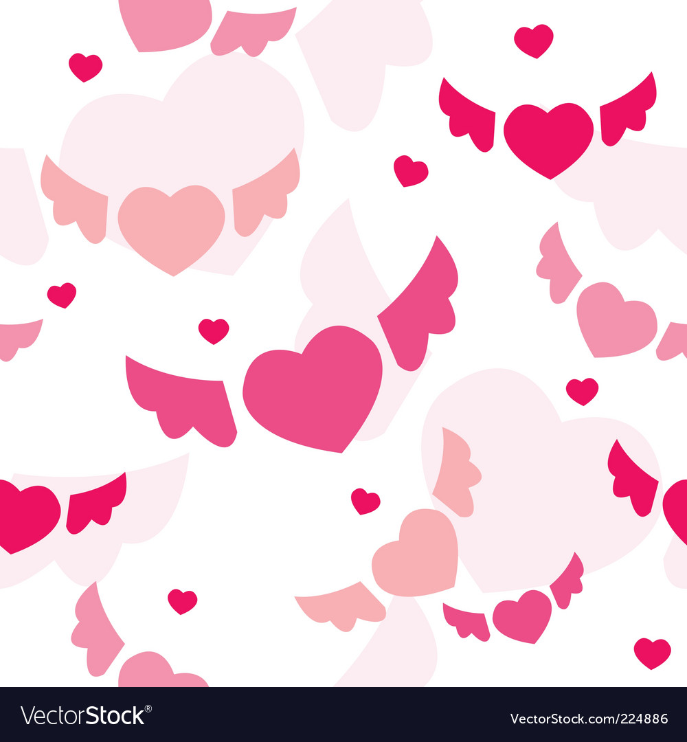 Seamless background with flying hearts vector | Price: 1 Credit (USD $1)
