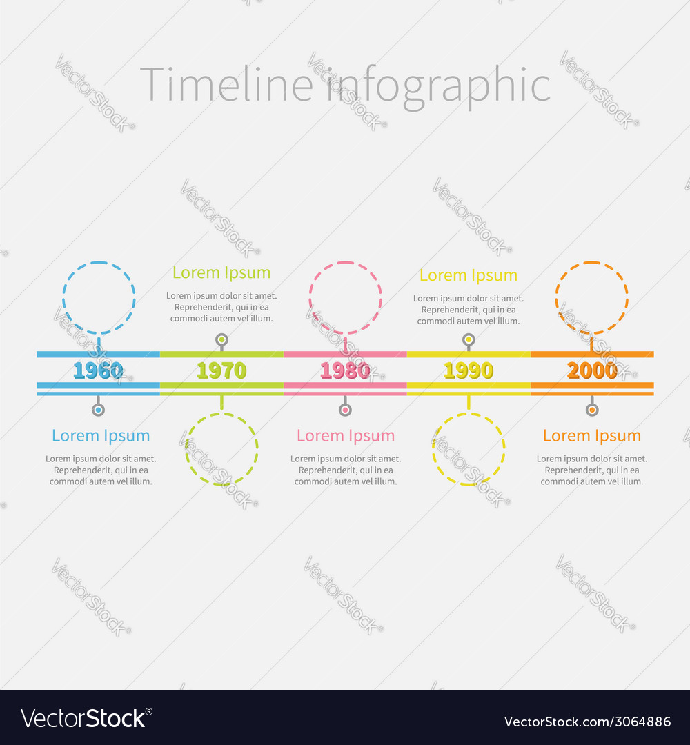 Timeline infographic colour dash line circles and vector | Price: 1 Credit (USD $1)