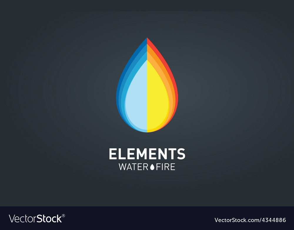 Water and fire elements logo design template vector | Price: 1 Credit (USD $1)