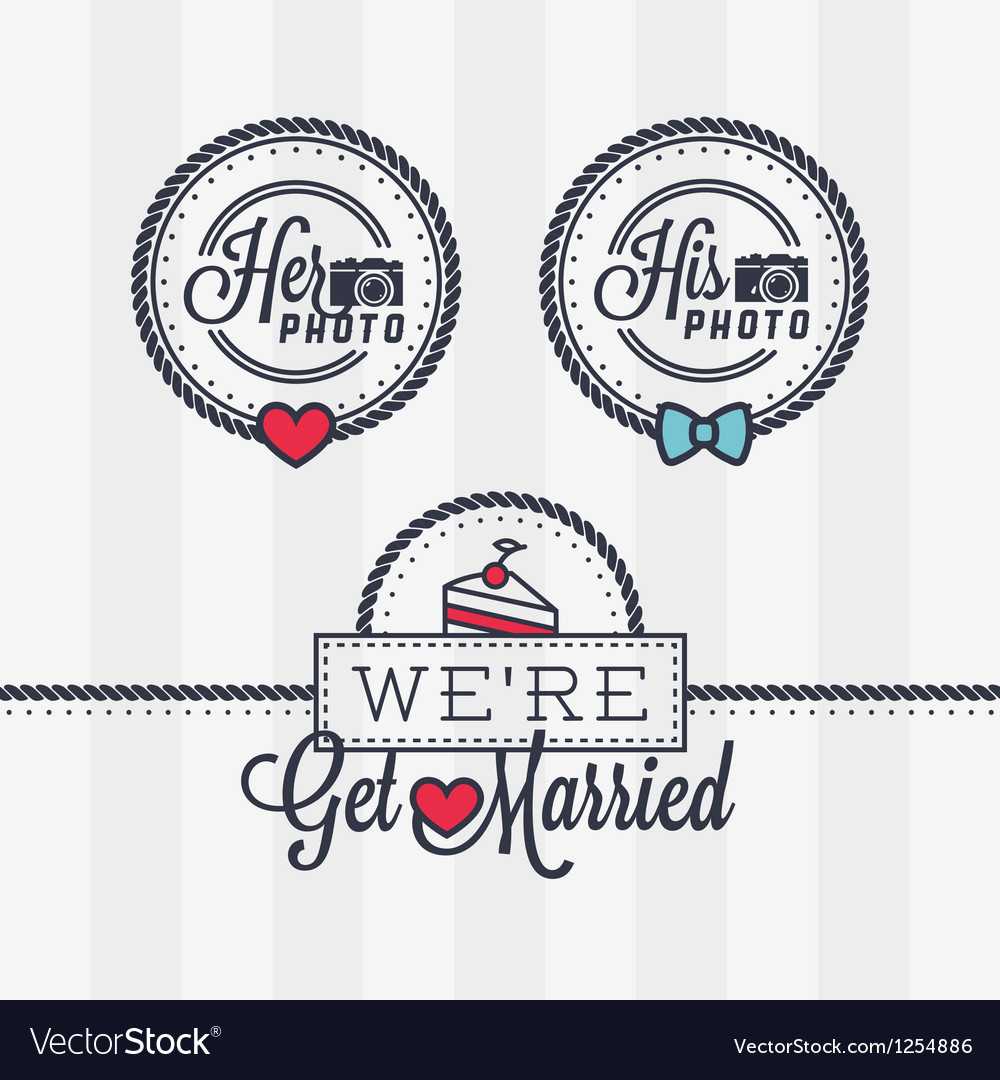 Weddings photo stamps vector