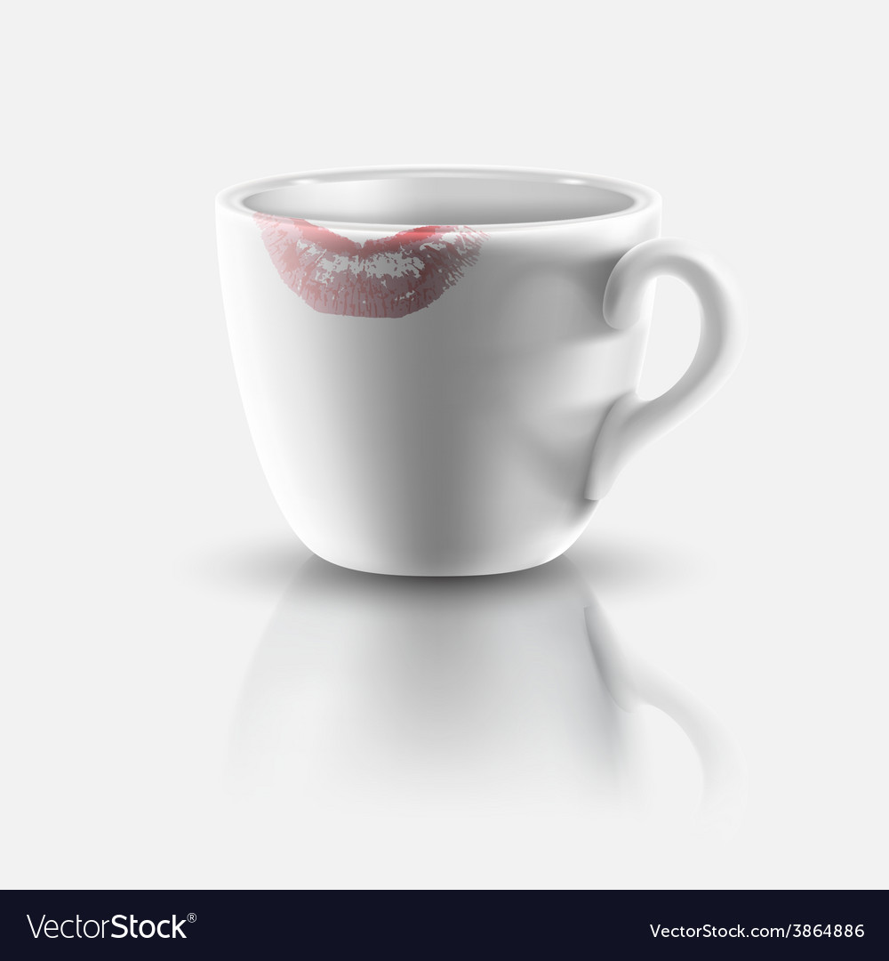 White cup with lipstick print vector | Price: 1 Credit (USD $1)