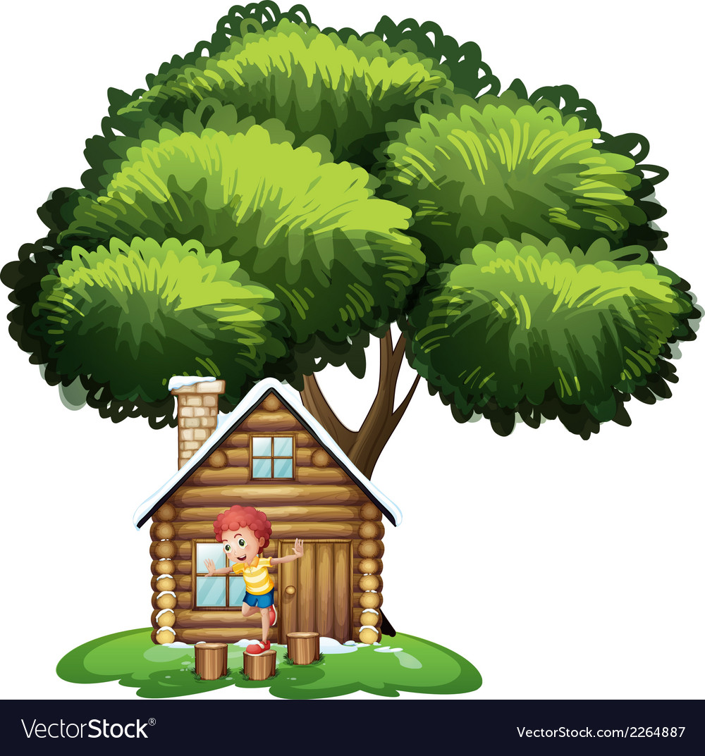 A boy playing outside the small house under the vector | Price: 1 Credit (USD $1)