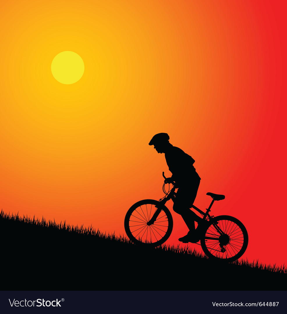 Biker silhouette on the sunset vector | Price: 1 Credit (USD $1)
