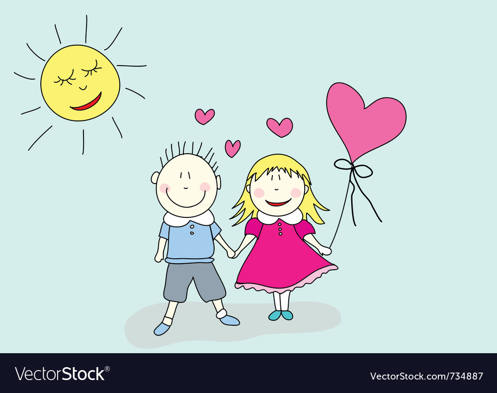 Boy and girl valentines day vector | Price: 1 Credit (USD $1)