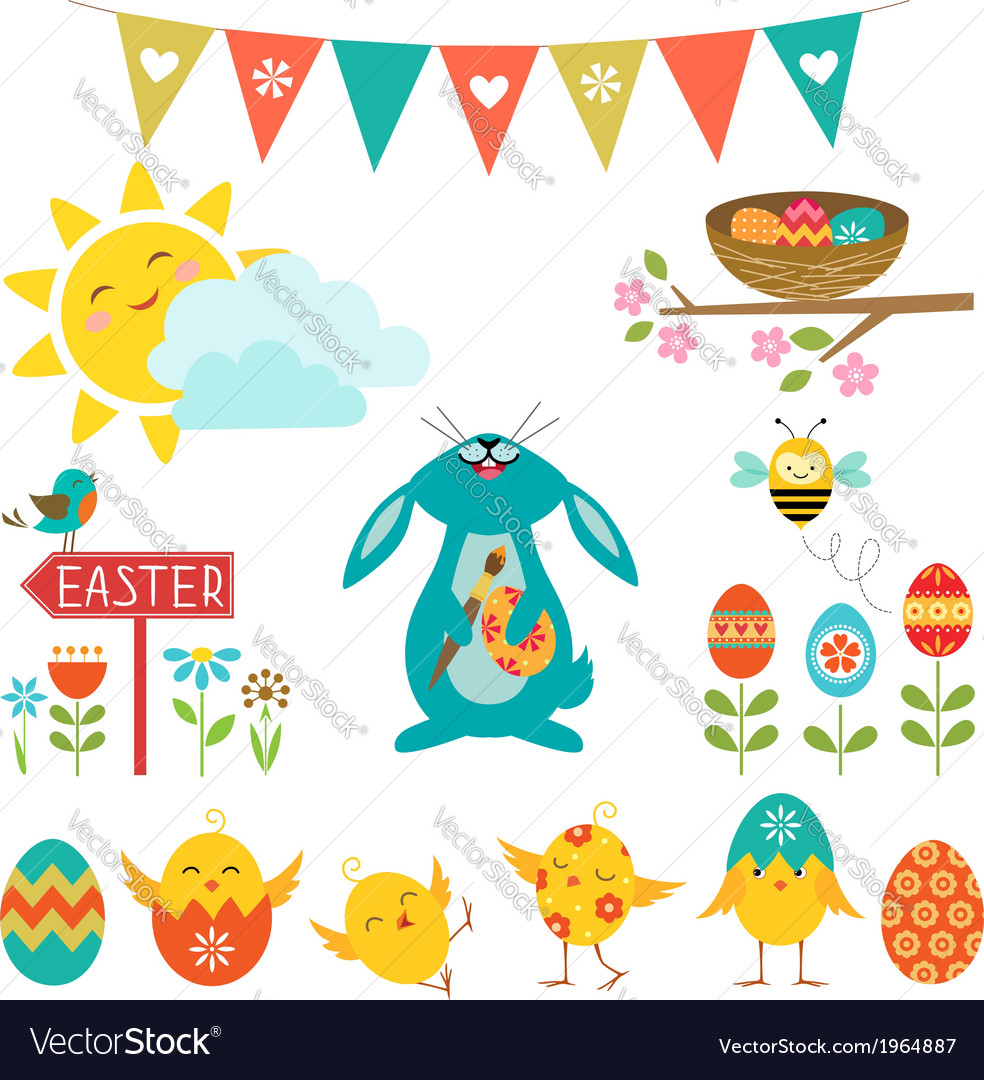 Easter design elements vector