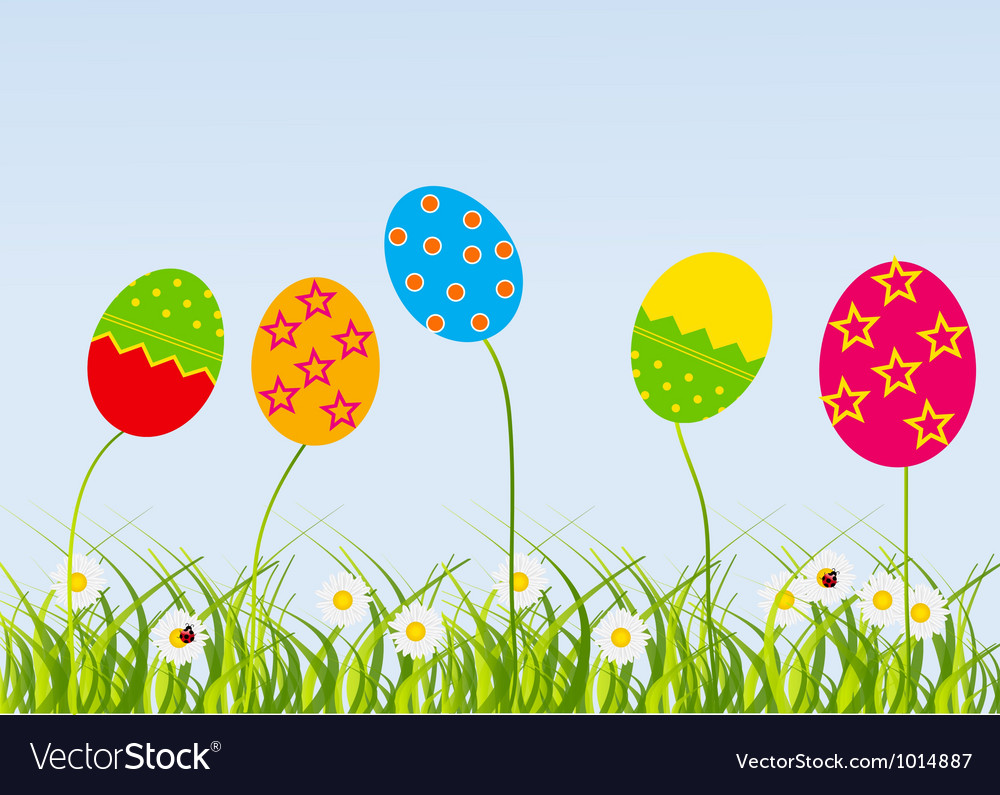 Easter eggs-flowers card vector | Price: 1 Credit (USD $1)