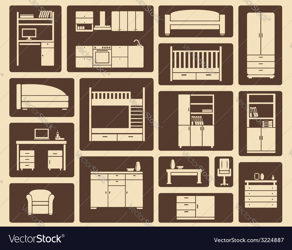 Flat furniture and interior icons vector | Price: 1 Credit (USD $1)