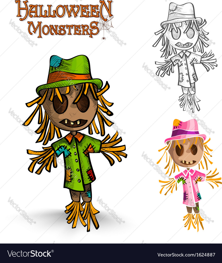 Halloween monster spooky scarecrows eps10 file vector | Price: 1 Credit (USD $1)