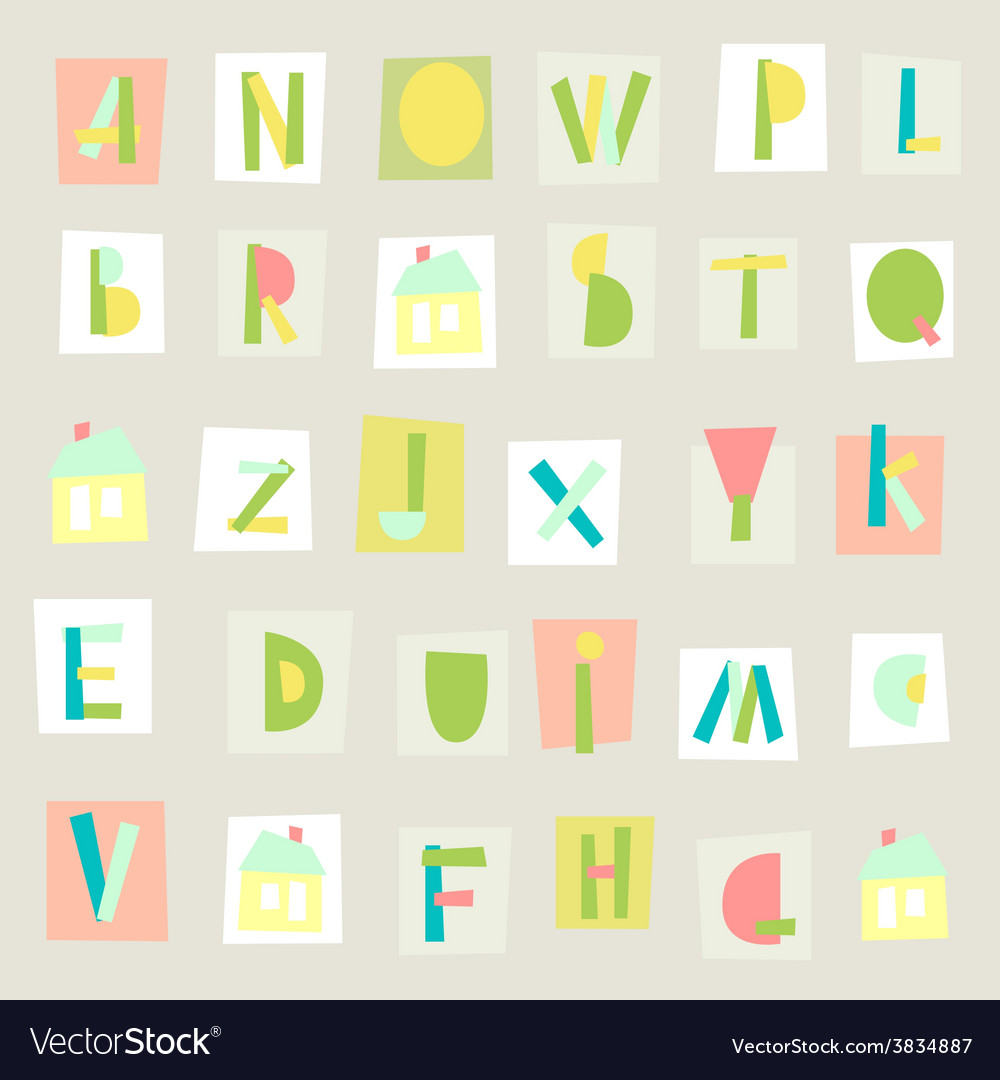 Hand drawn trendy alphabet on light background vector | Price: 1 Credit (USD $1)