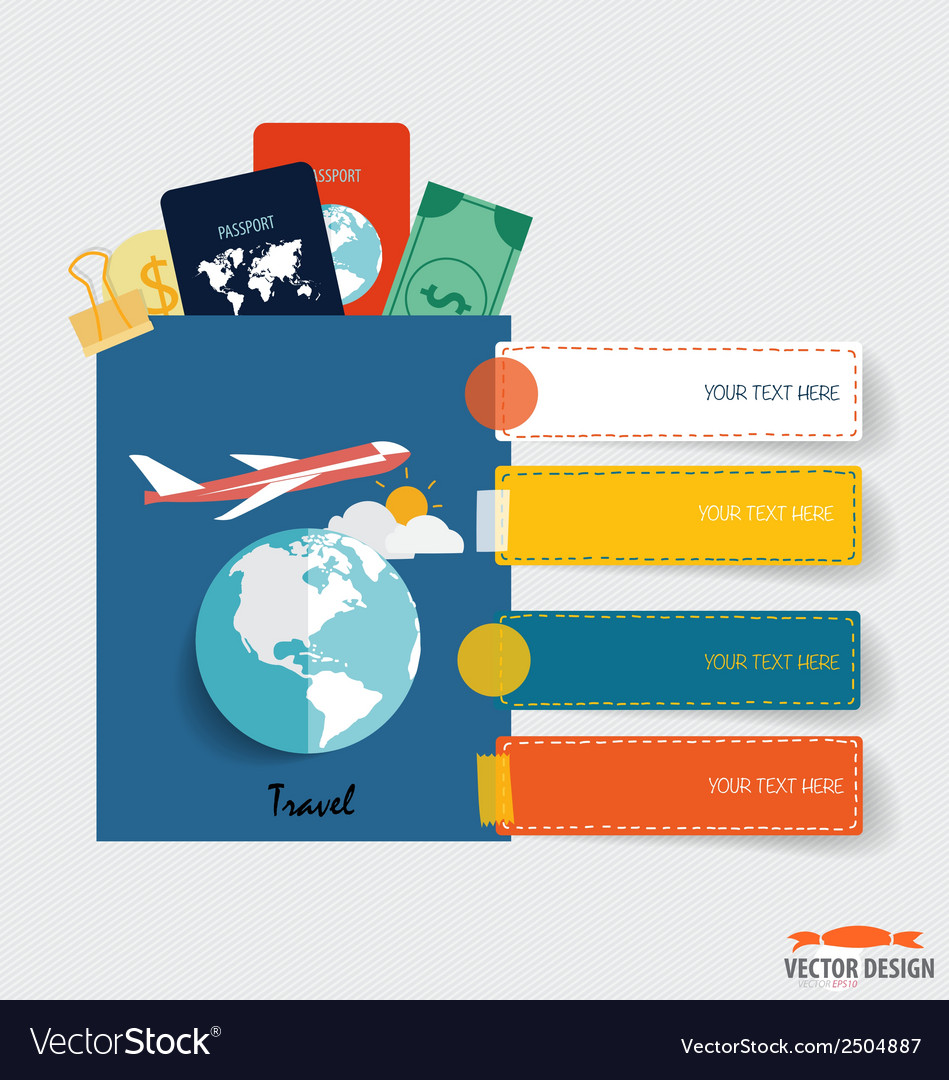 International passport and elements of travel vector | Price: 1 Credit (USD $1)