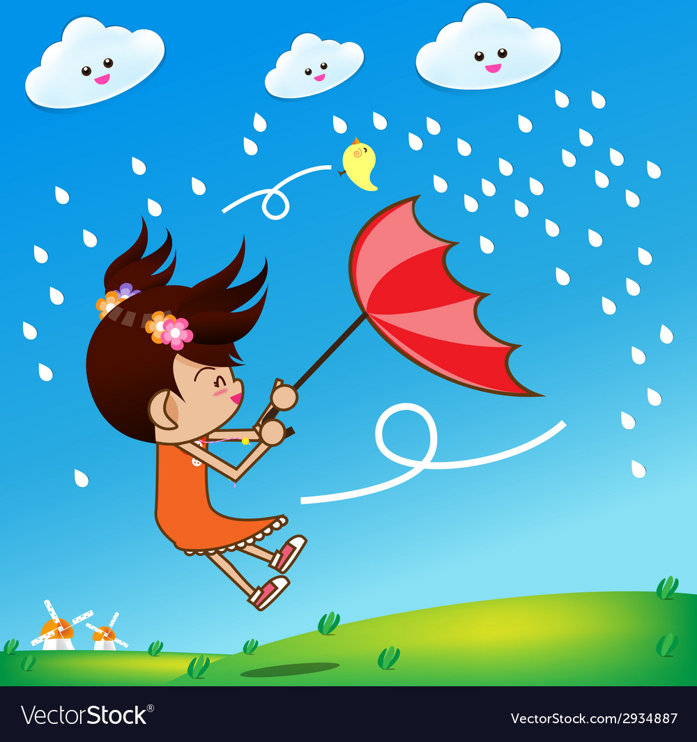 Little girl in rainny day 002 vector | Price: 1 Credit (USD $1)