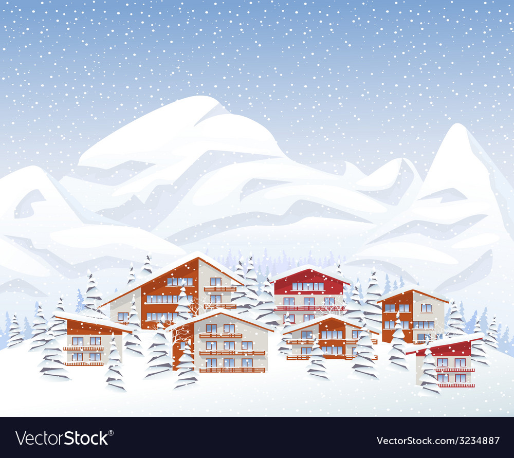 Mountain ski resort in winter vector | Price: 1 Credit (USD $1)