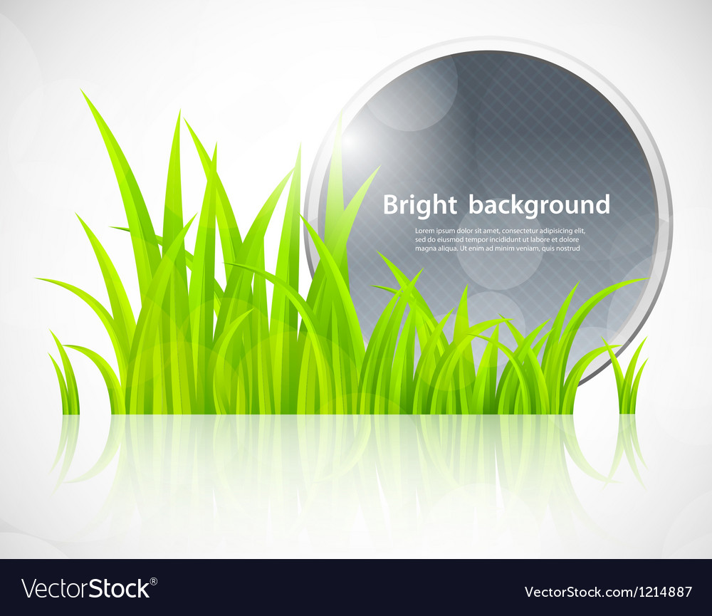 Round blue frame in grass vector | Price: 1 Credit (USD $1)