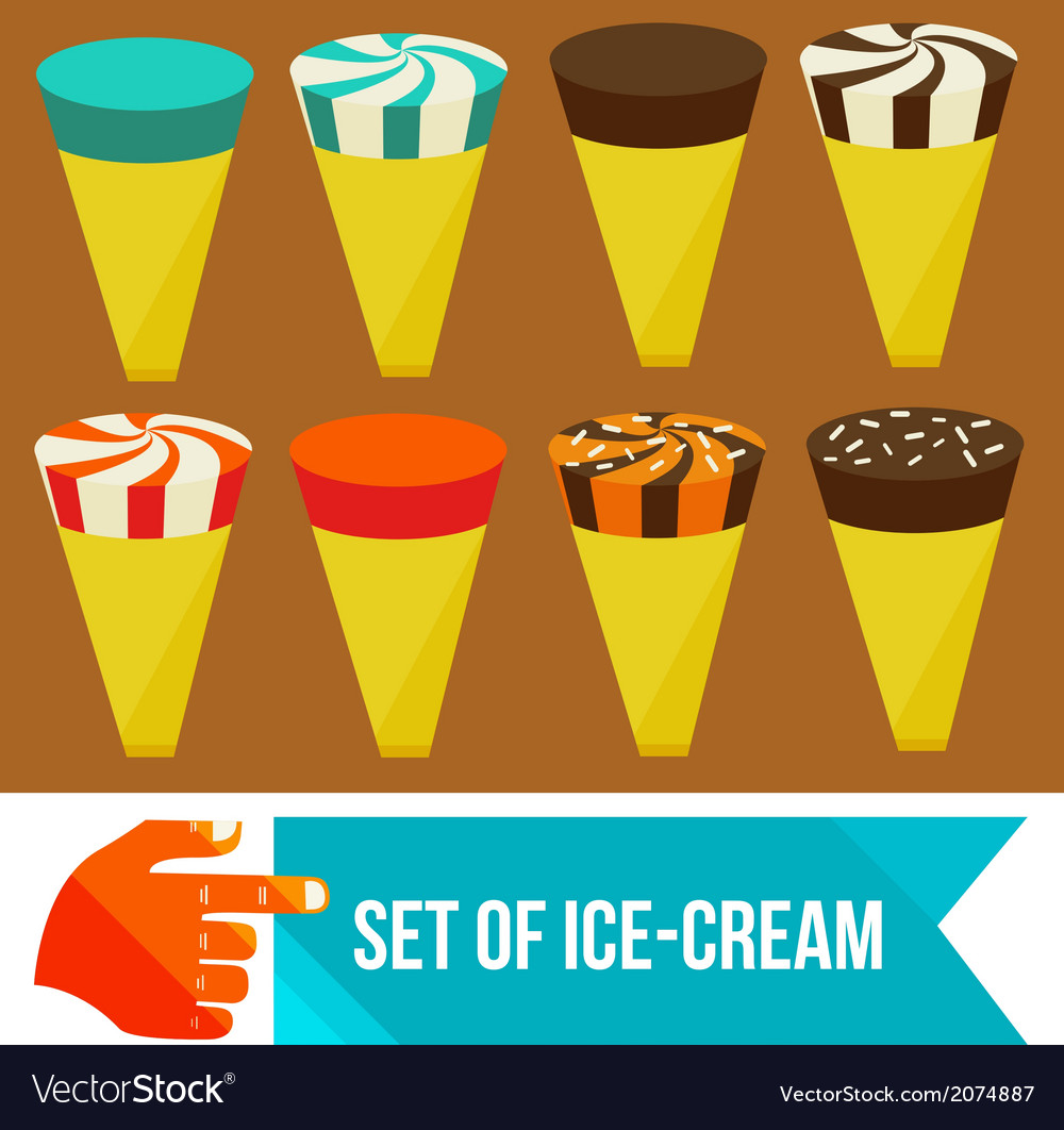 Set of ice cream horns vector | Price: 1 Credit (USD $1)