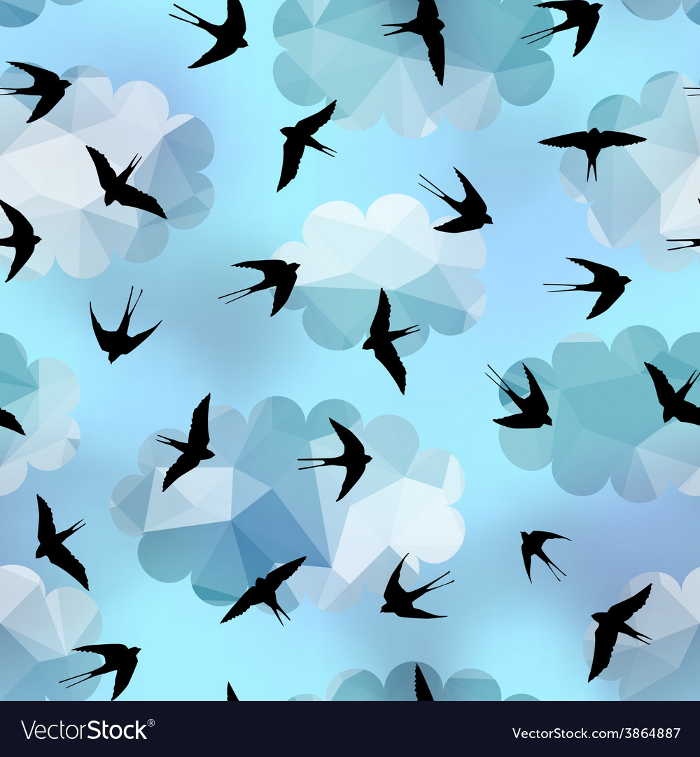 Swallows on sky background vector | Price: 1 Credit (USD $1)