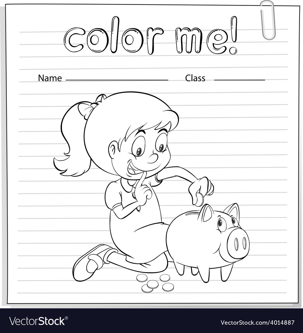 Worksheet showing a thrifty girl vector | Price: 3 Credit (USD $3)
