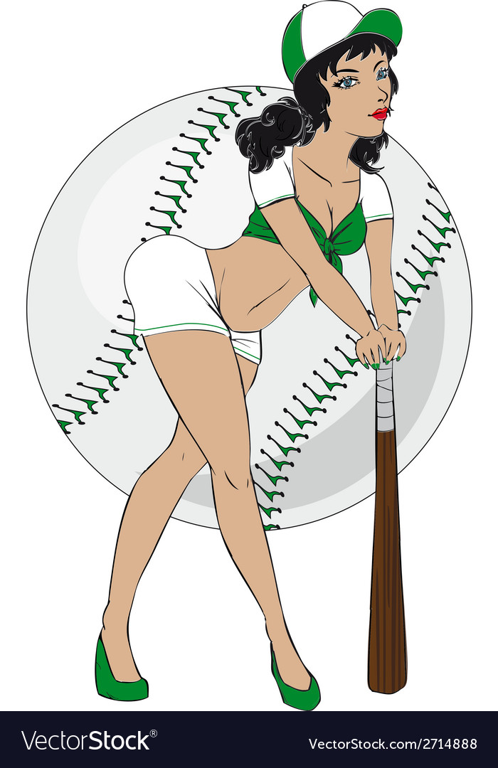 Baseball pinup girl vector | Price: 1 Credit (USD $1)