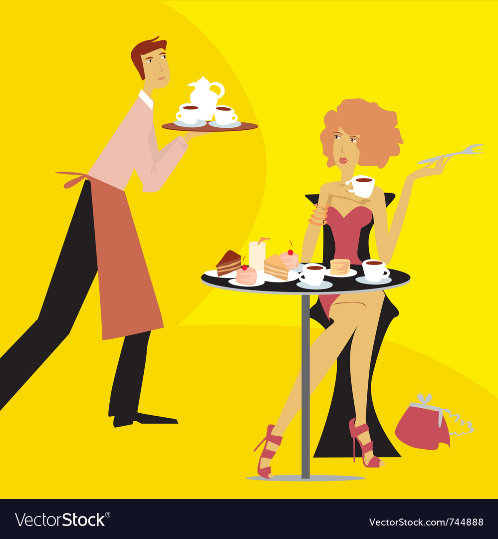 Cafe scene vector | Price: 3 Credit (USD $3)