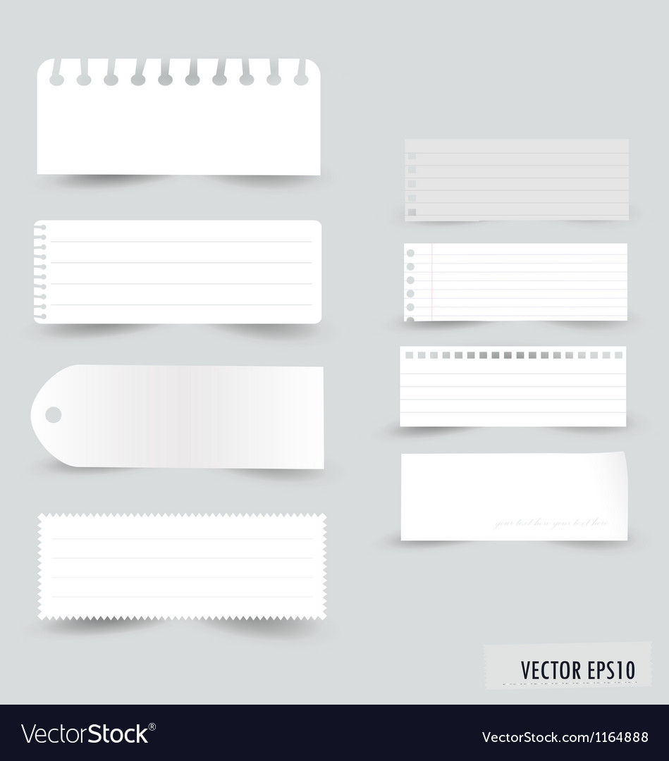 Collection white note papers vector | Price: 1 Credit (USD $1)