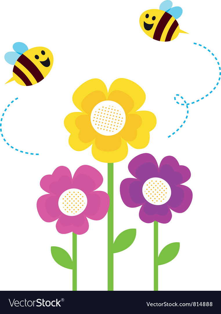 Cute bees flying around vector | Price: 1 Credit (USD $1)