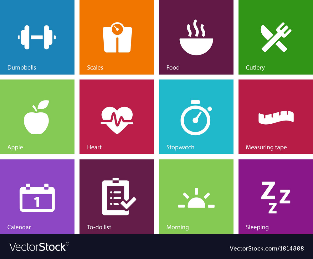 Fitness icons on color background vector | Price: 1 Credit (USD $1)