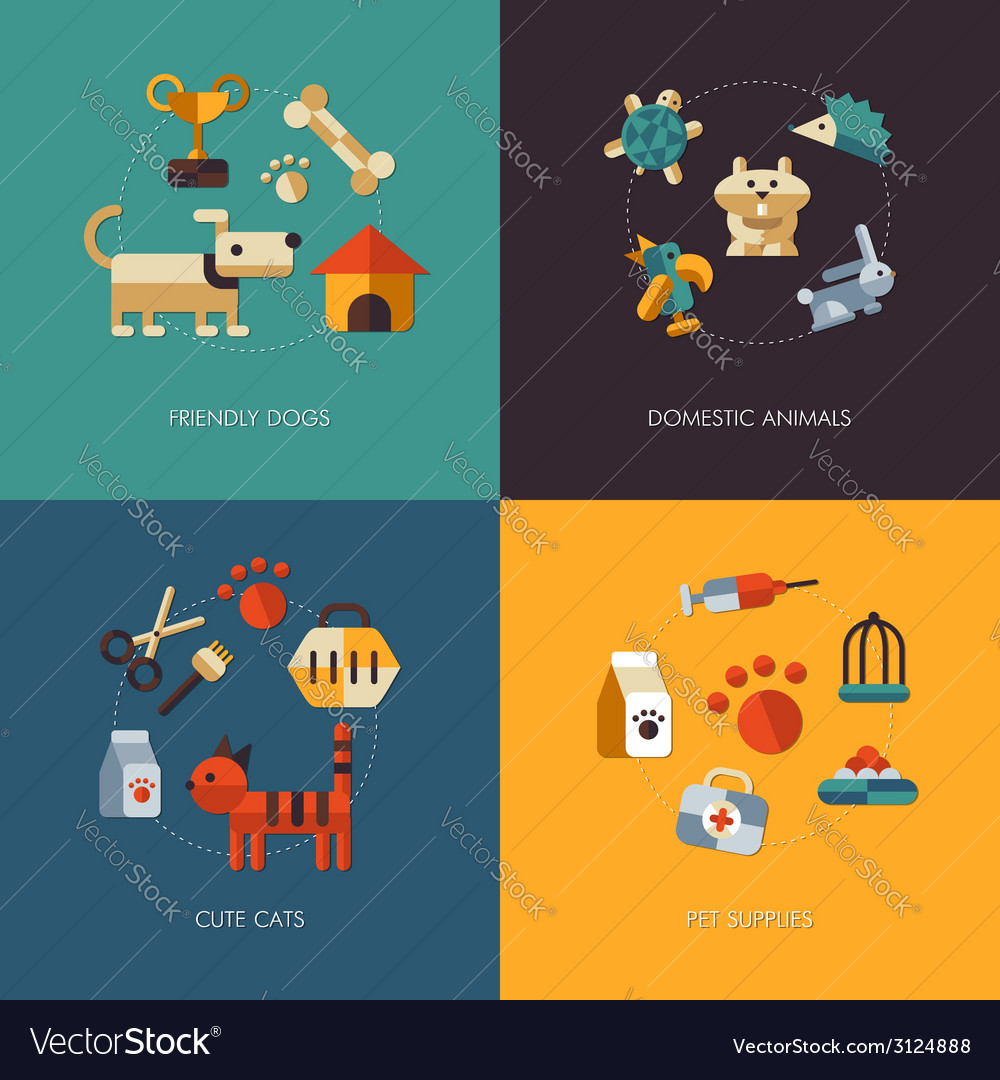 Flat design pets compositions vector | Price: 1 Credit (USD $1)