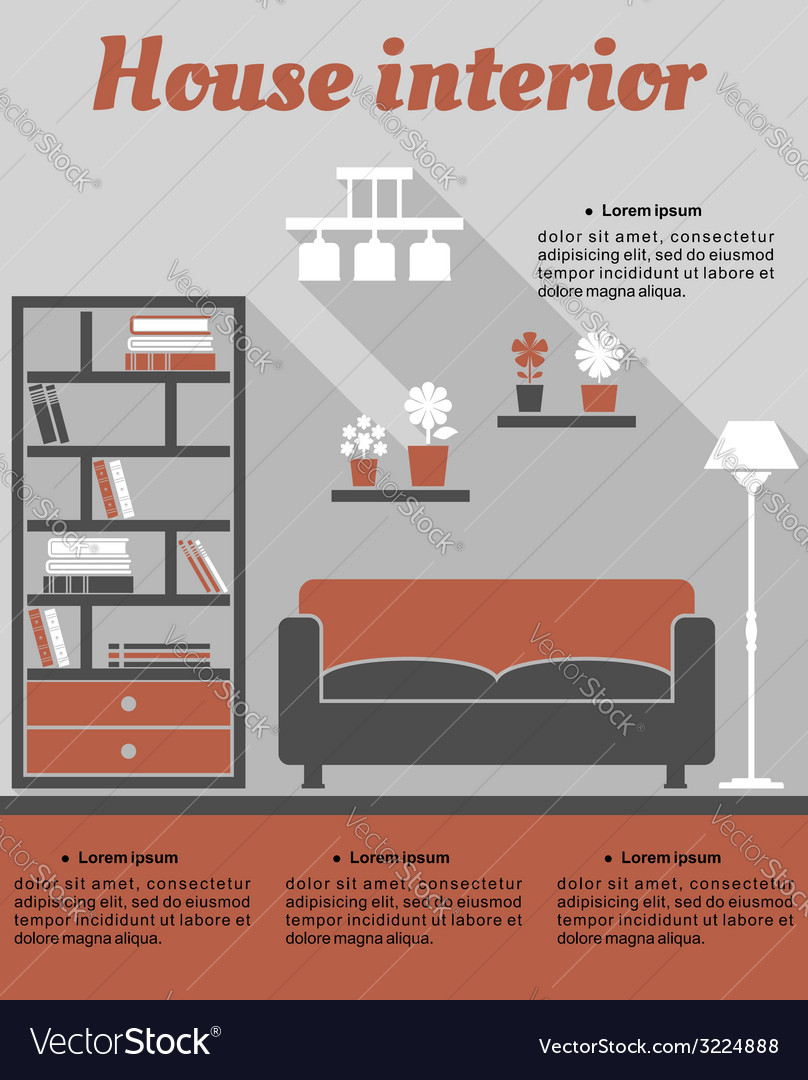 Living room interior infographic template vector | Price: 1 Credit (USD $1)