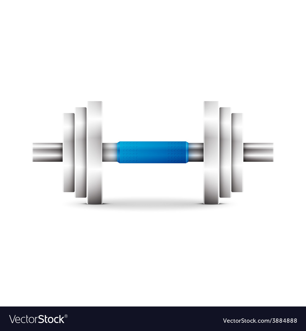 Metal dumbbell - isolated on white vector | Price: 1 Credit (USD $1)