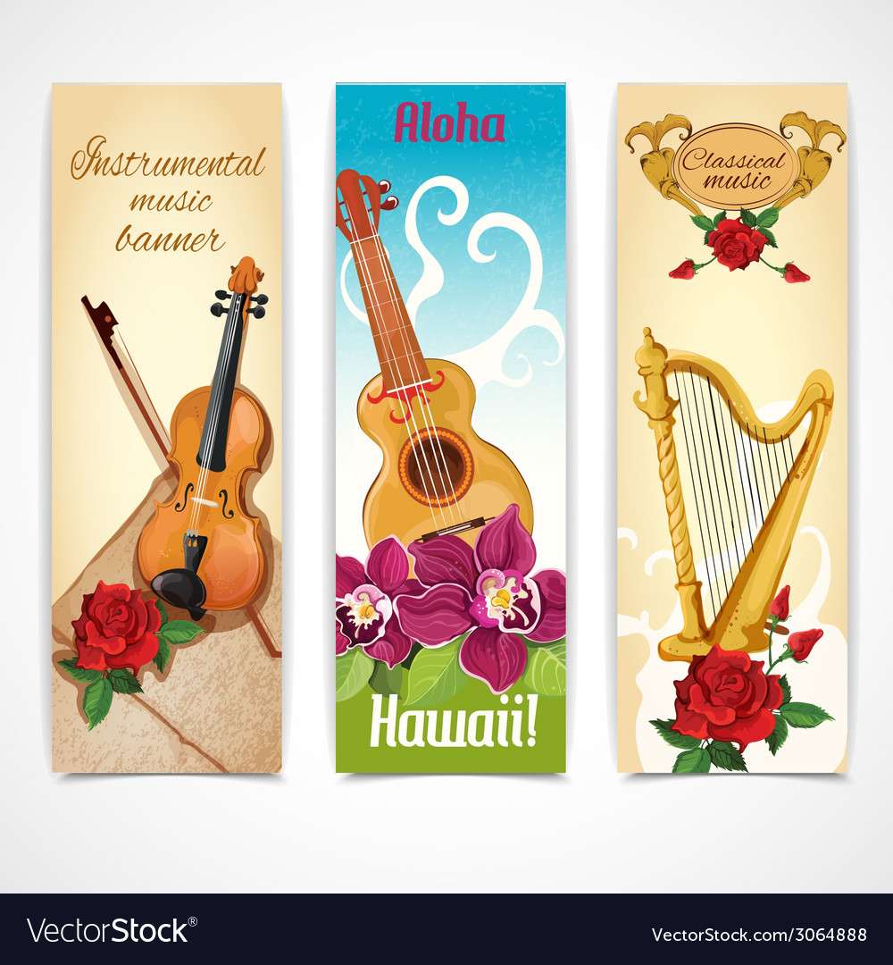 Music instruments banners vector | Price: 1 Credit (USD $1)