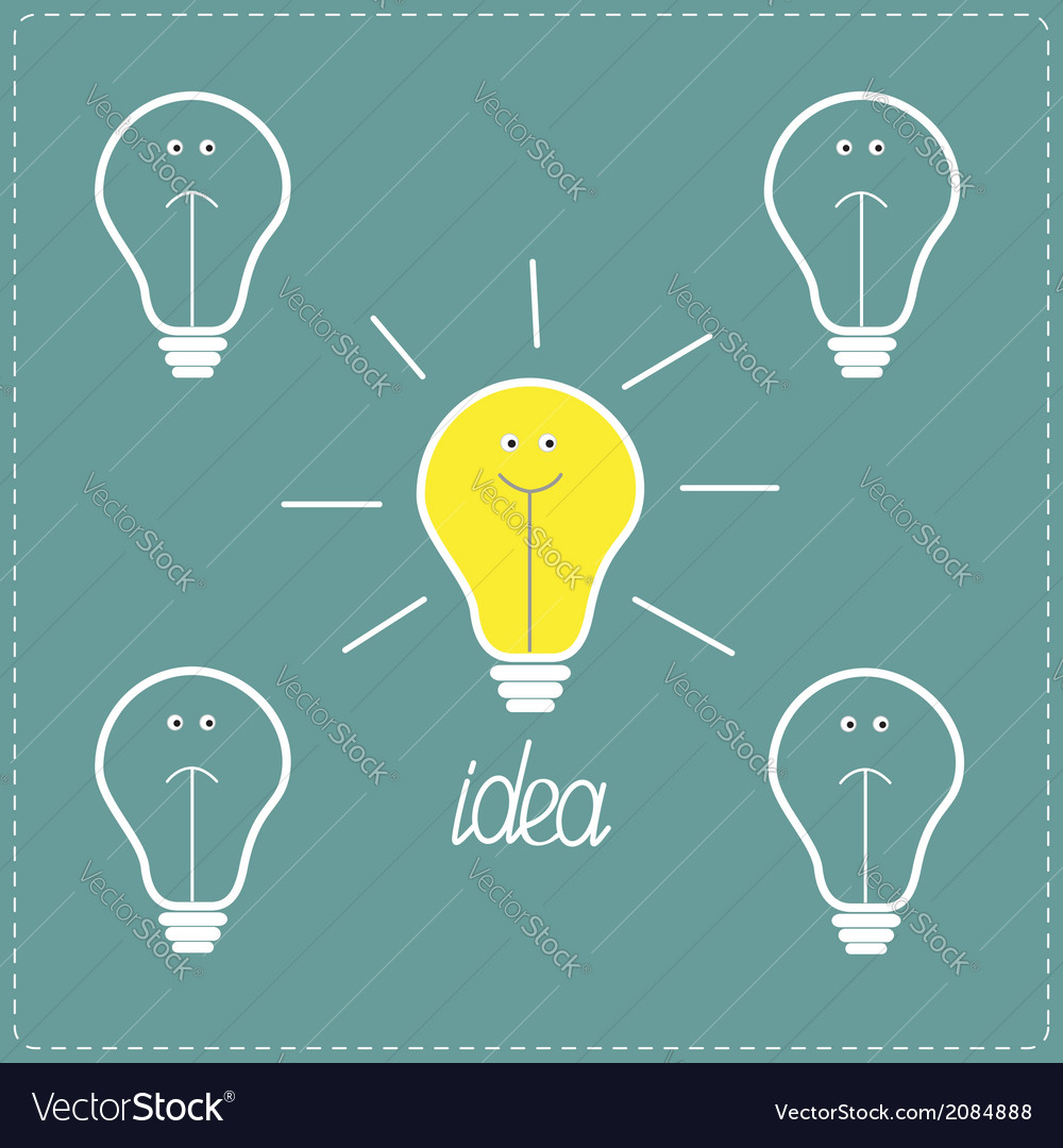 On and off bulbs with faces idea concept vector | Price: 1 Credit (USD $1)