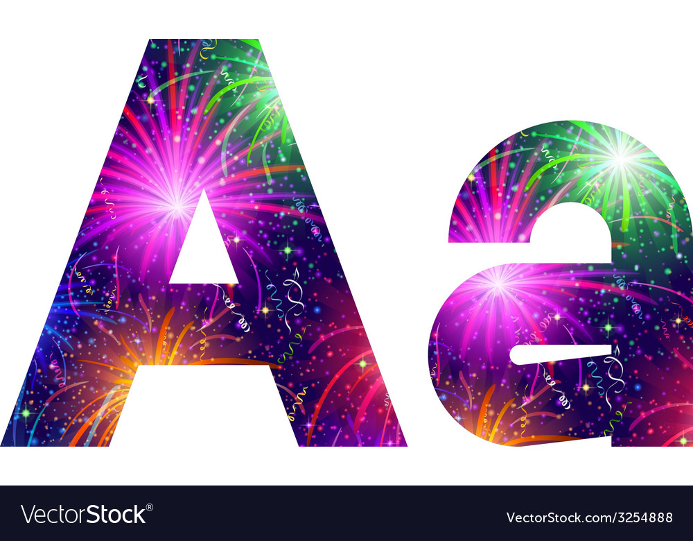 Set of letters firework a vector | Price: 1 Credit (USD $1)