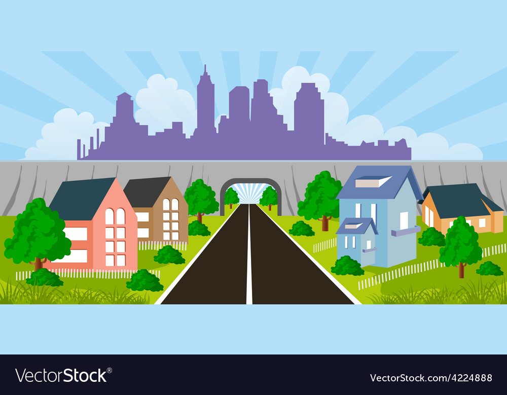 Suburban houses vector | Price: 1 Credit (USD $1)