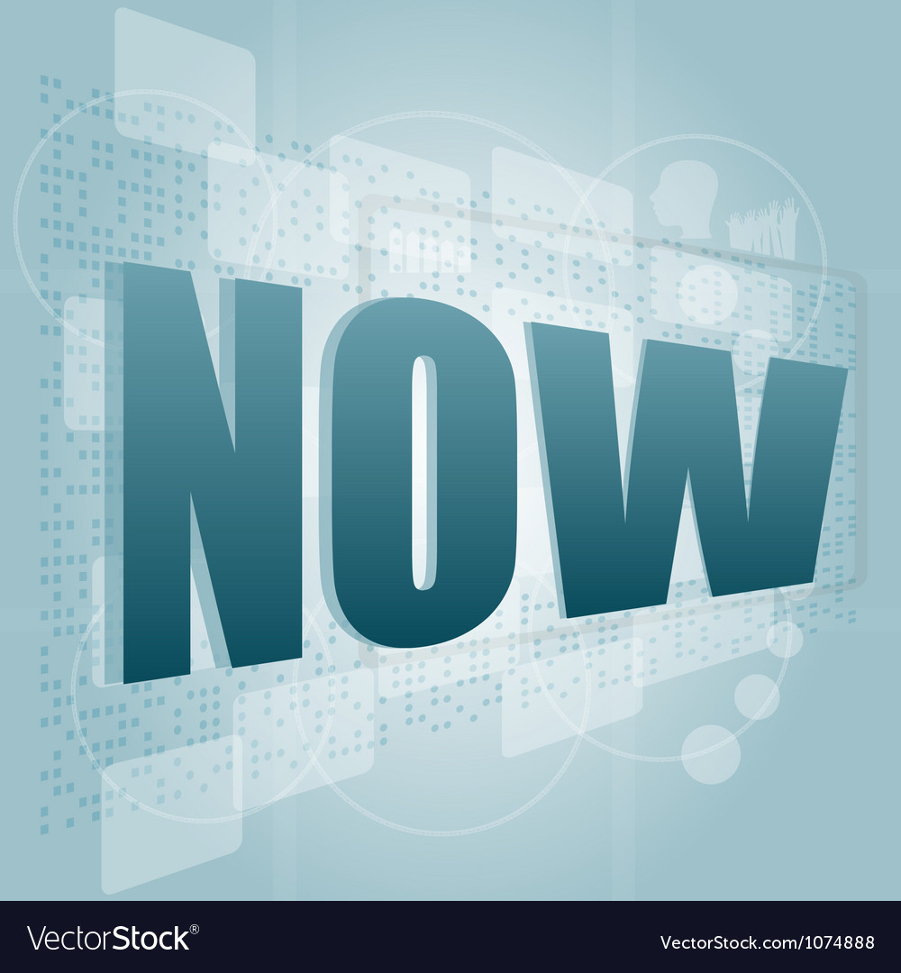 Word now on digital screen timeline concept vector | Price: 1 Credit (USD $1)