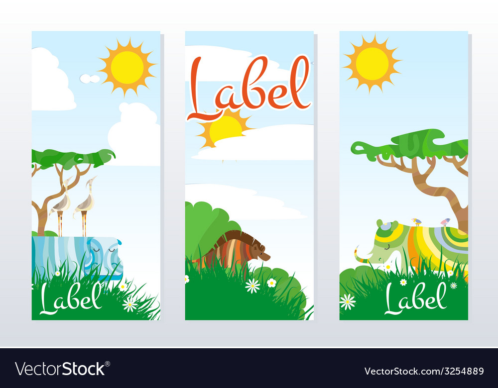 African animals cards vector | Price: 1 Credit (USD $1)