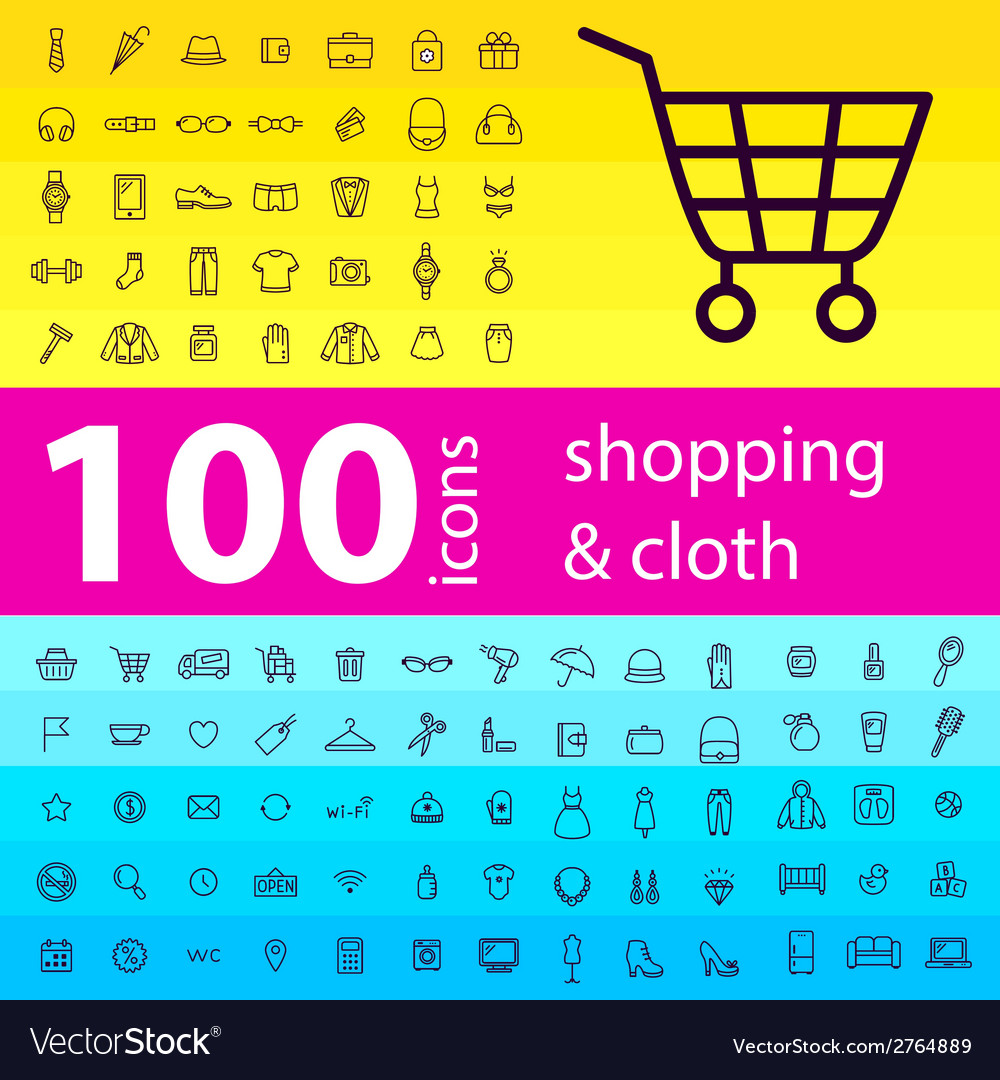 Big set of 100 icons of shopping vector | Price: 1 Credit (USD $1)