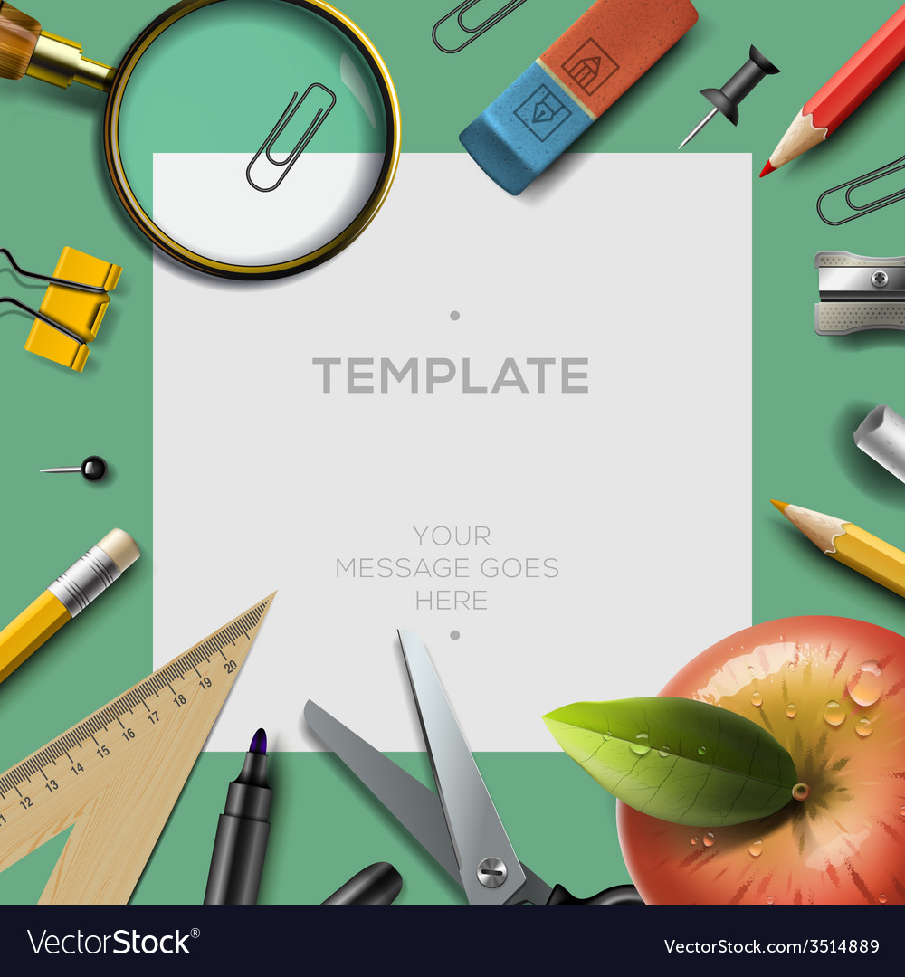 Education template with office supplies back to vector | Price: 1 Credit (USD $1)