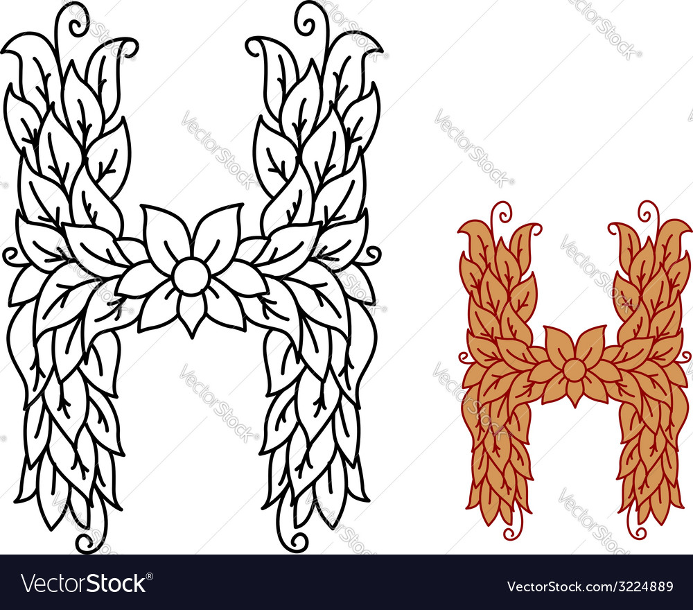 Floral and foliate alphabet letter h vector | Price: 1 Credit (USD $1)