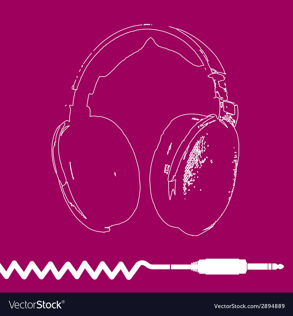 Headphones outline design vector | Price: 1 Credit (USD $1)