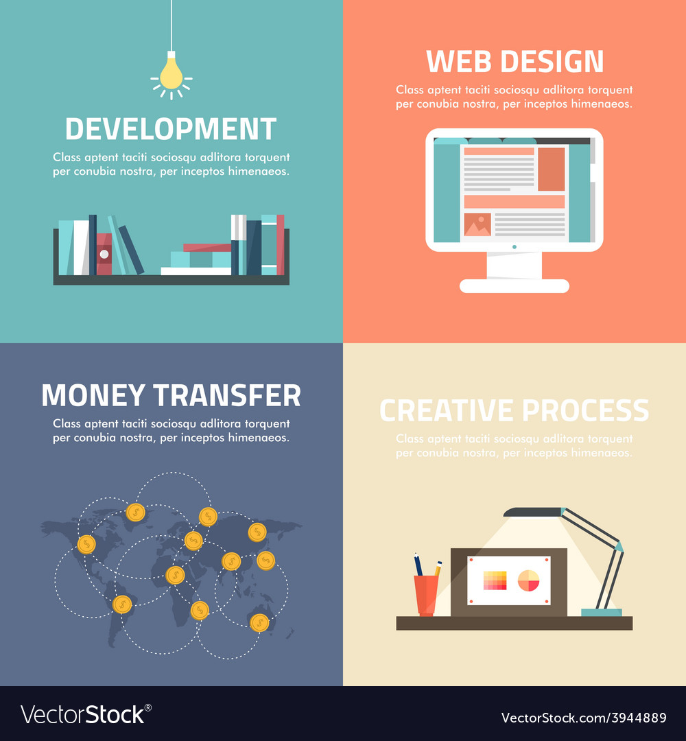 Set of flat design banners development web design vector | Price: 1 Credit (USD $1)