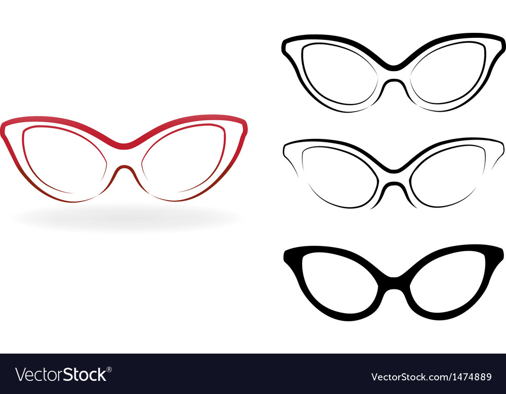 Set of modern glasses isolated on white background vector | Price: 1 Credit (USD $1)