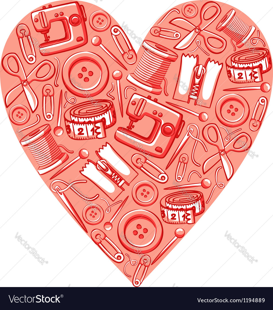 Sewing heart vector | Price: 3 Credit (USD $3)