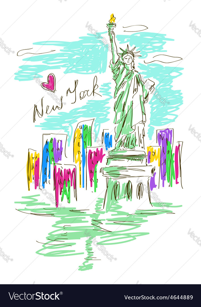 Sketch with statue of liberty vector | Price: 1 Credit (USD $1)