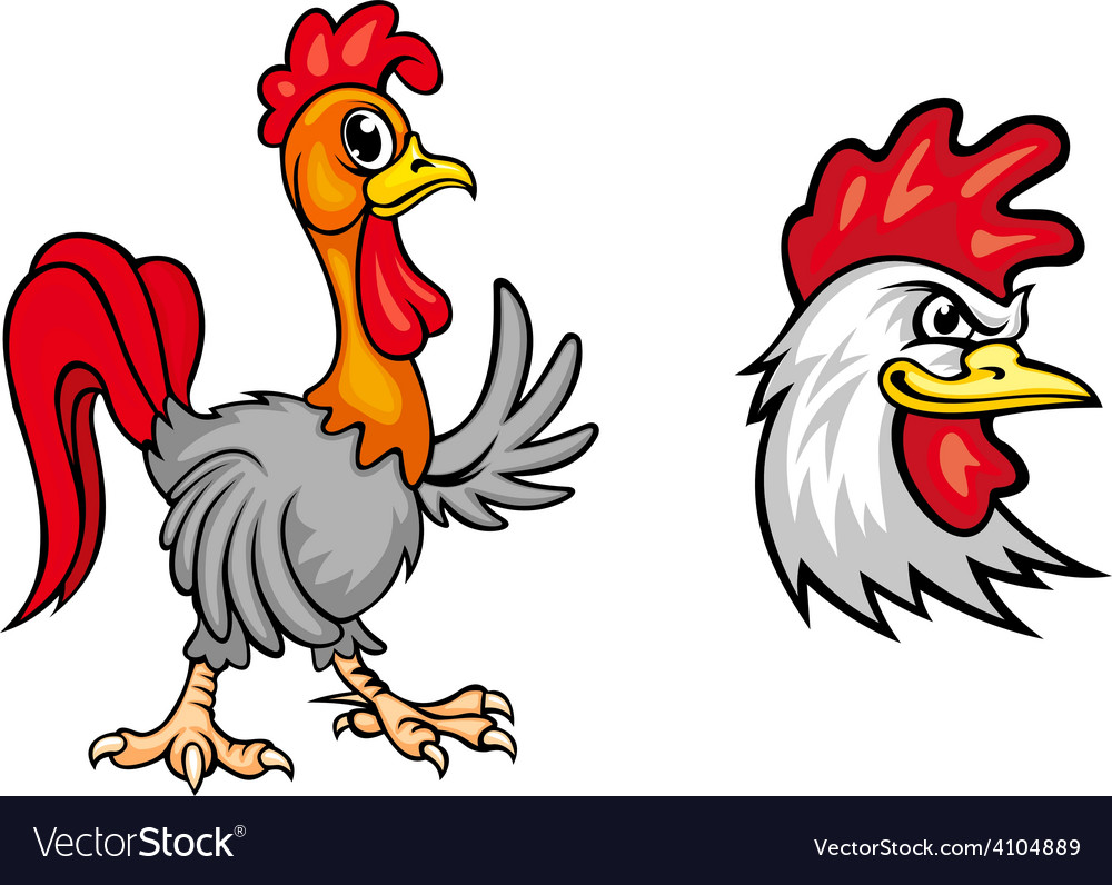 Two colorful roosters vector | Price: 1 Credit (USD $1)