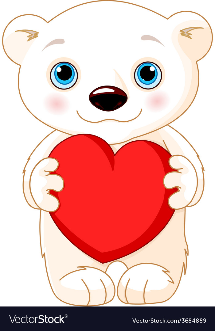 Valentine day polar bear vector | Price: 1 Credit (USD $1)