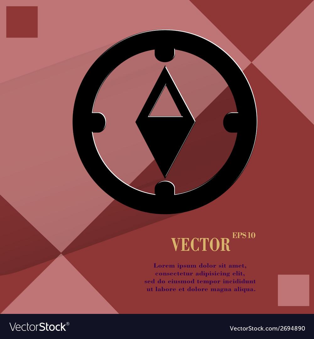 Compass flat modern web button on a flat geometric vector   Price: 1 Credit (USD $1)