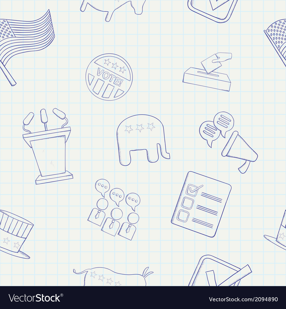 Election hand drawn seamless pattern vector | Price: 1 Credit (USD $1)